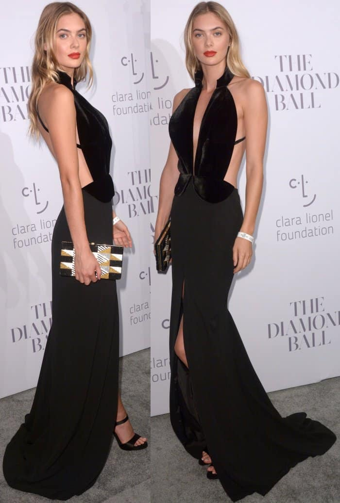 Megan Williams wearing a black Brandon Maxwell gown at Rihanna's 3rd Annual Diamond Ball