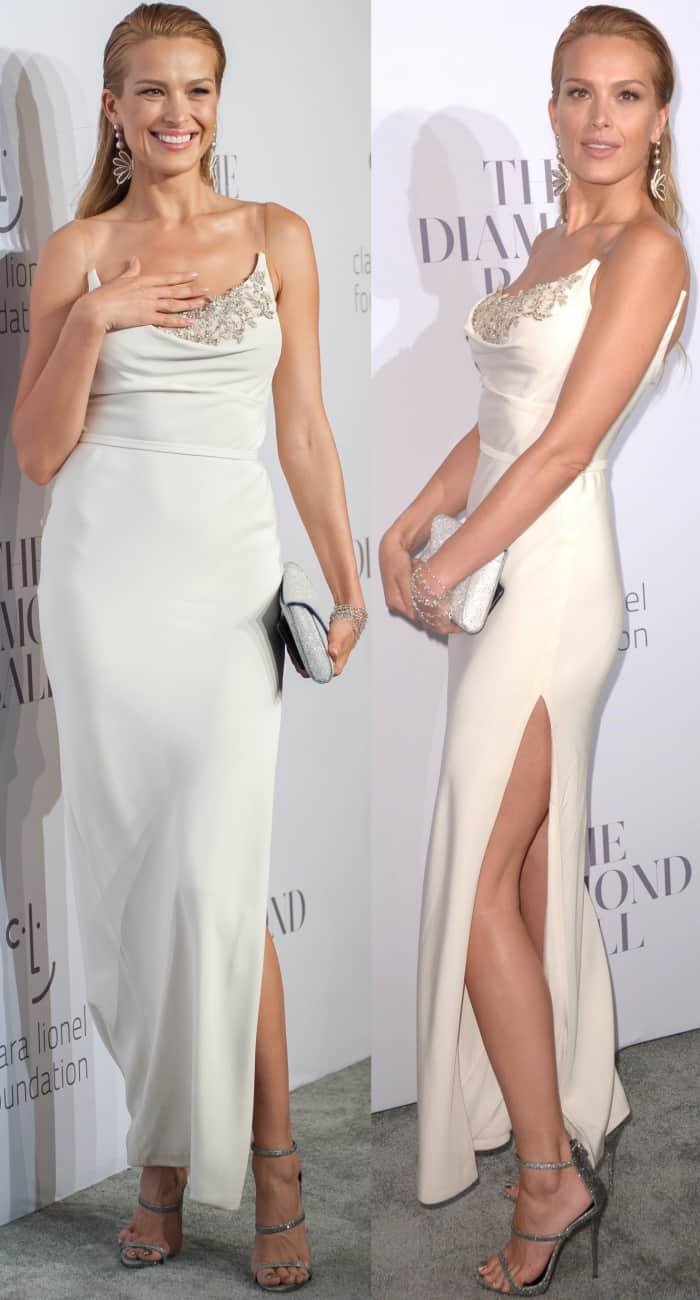 Petra Nemcova wearing a white Cristina Ottaviano gown at Rihanna's 3rd Annual Diamond Ball