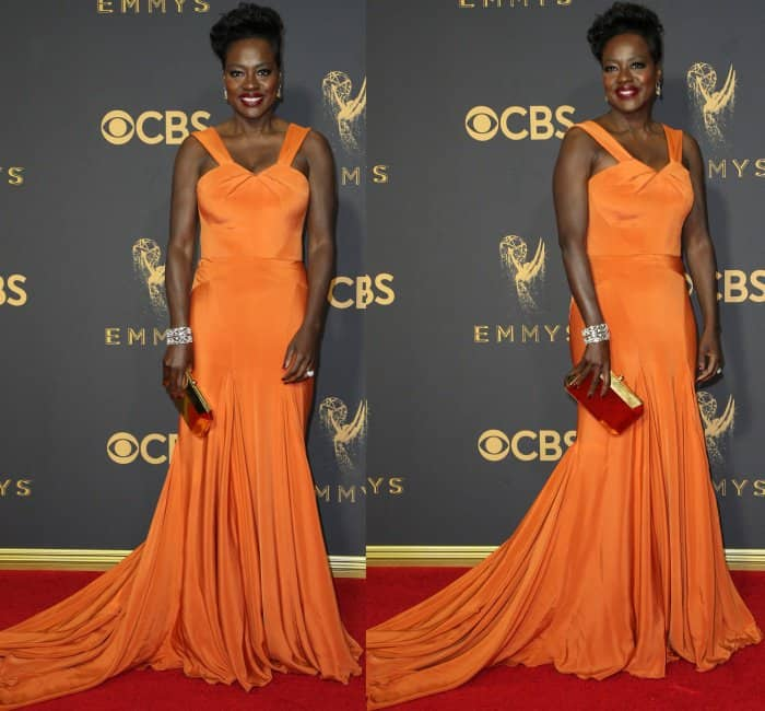 Viola Davis wearing a custom tangerine gown by Zac Posen at the 69th Emmy Awards