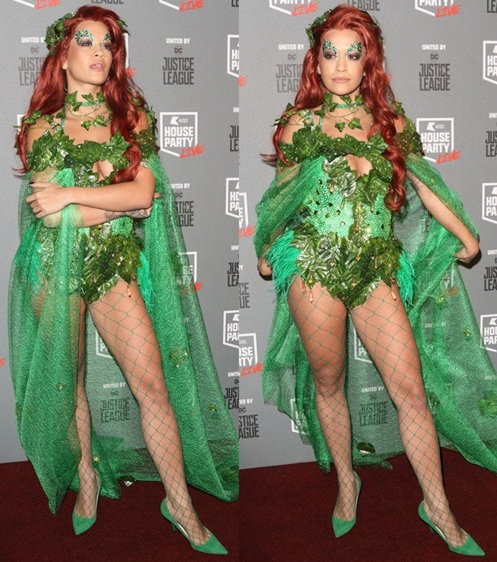 Rita Ora attends the KISS House Party dressed in a Poison Ivy costume.