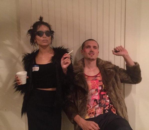 Zoe Kravitz and boyfriend dress up as Marla Singer and Tyler Durden for Halloween.