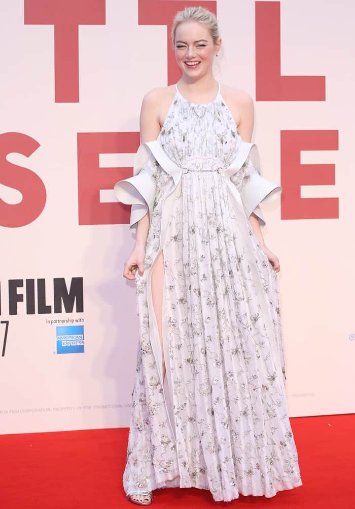 "Emma Stone wearing an embellished Louis Vuitton dress during the ""Battle of the Sexes"" premiere."