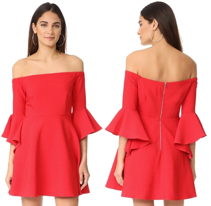 A flirty dress styled with an off-shoulder elastic neckline and swingy skirt