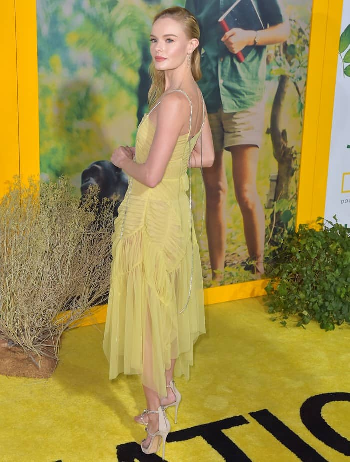Kate Bosworth wearing a yellow dress at the premiere of 'Jane'.