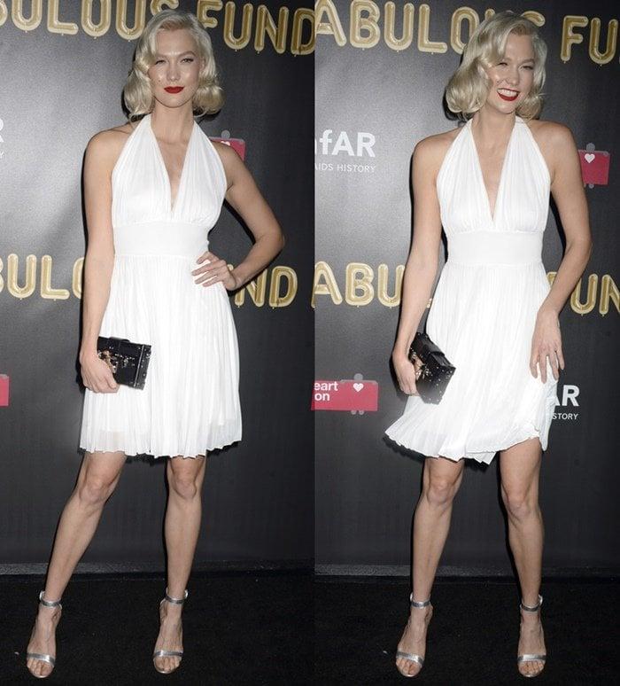 Karlie Kloss as Marilyn Monroe at the amfAR & The Naked Heart Foundation Fabulous Fund Fair.