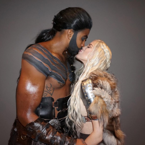 Tristan Thompson and Khloe Kardashian in Game of Thrones looks for Halloween.