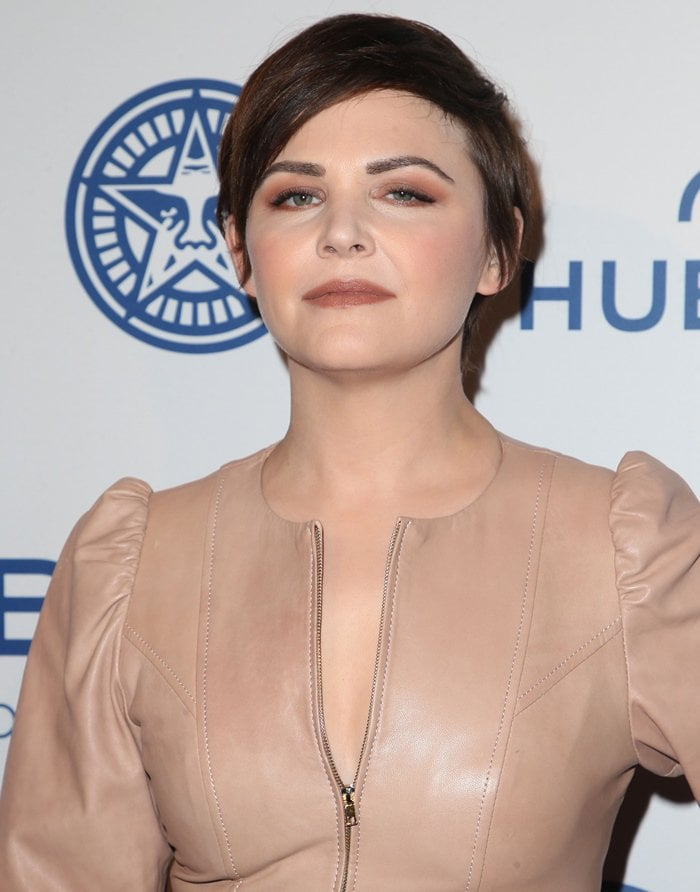 Ginnifer Goodwin wearing a nude leather dress at the screening of 'Obey The Giant'.