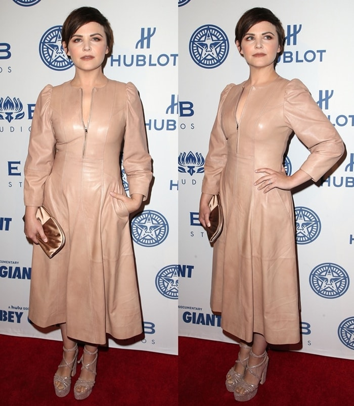 Ginnifer Goodwin attends 'Obey Giant' screening in a leather dress.