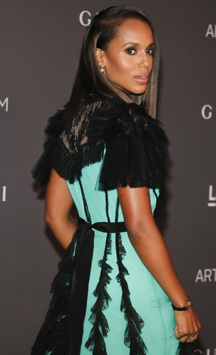 Kerry Washington in a ruffled lace Gucci gown at the 2017 LACMA Art + Film Gala presented by Gucci at LACMA in Los Angeles on November 4, 2017