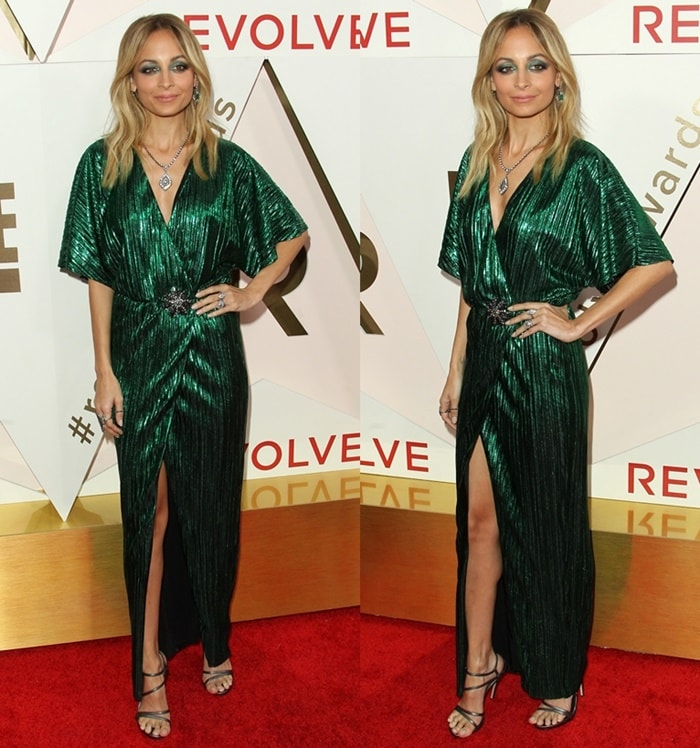 Nicole Richie attends the Revolve Awards wearing green dress.