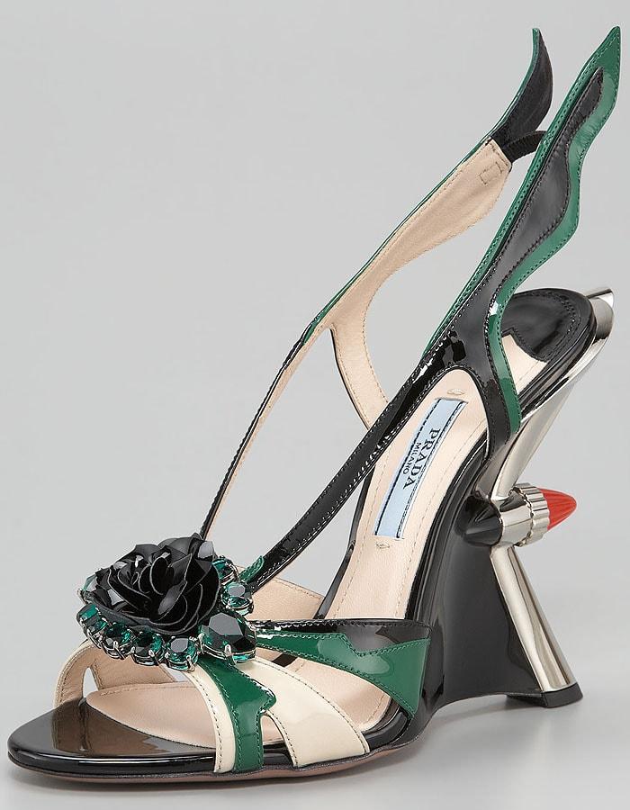Prada Spring 2012 'Hot Rod' Jewel-Toe Tail-Light-Detail Patent Wedges
