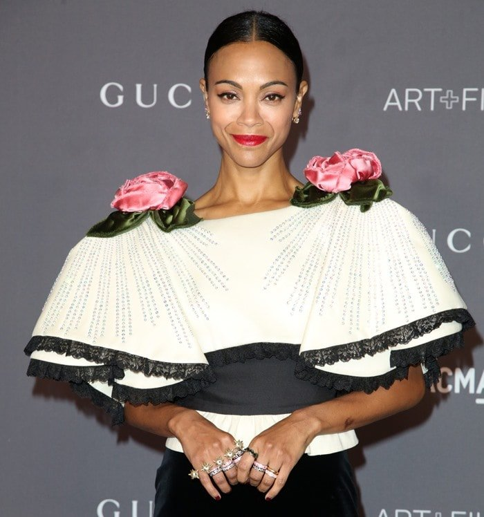 Zoe Saldana in a velvet Gucci gown at the 2017 LACMA Art + Film Gala presented by Gucci at LACMA in Los Angeles on November 4, 2017