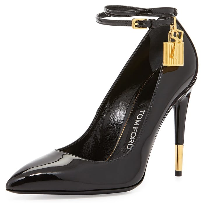Tom Ford Padlock-Ankle-Strap Pointy-Toe Pumps