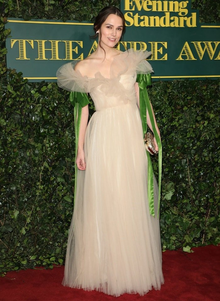 Keira Knightley's ethereal, goddess-like dress was styled with jewelry from Chanel and heels by Nicholas Kirkwood