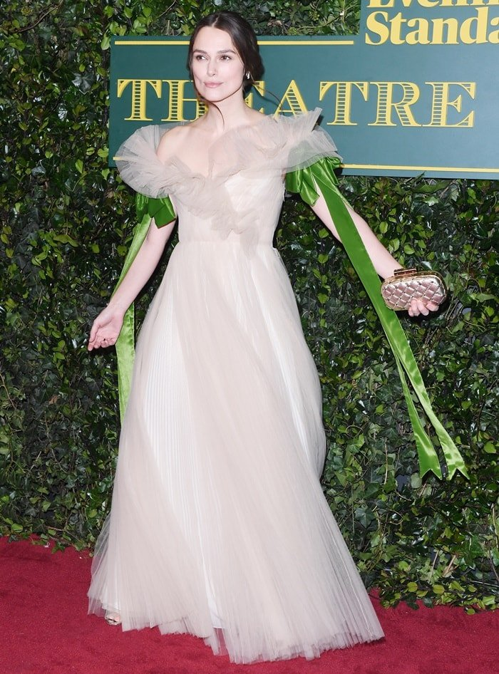 Keira Knightley in a cream tulle Valentino gown at the 2017 London Evening Standard Theatre Awards held at the Theatre Royal in London, England, on December 3, 2017