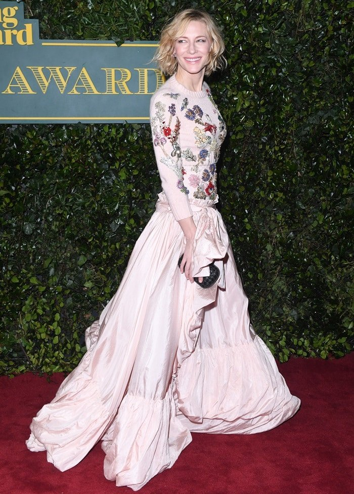 Cate Blanchett wearing a floral Alexander McQueen Resort 2018 gown at the 2017 London Evening Standard Theatre Awards held at the Theatre Royal in London, England, on December 3, 2017