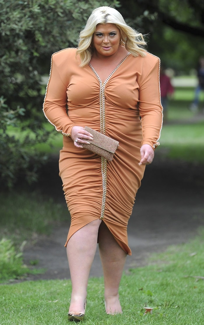 Gemma Collins looking like a quarterback for an American football team in a Gerda Truubon dress at ITV's summer party in London on July 20, 2017
