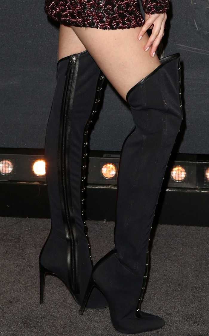 "Anna Kendrick wearing Giuseppe Zanotti ""Janice High"" over-the-knee boots at the ""Pitch Perfect 3"" premiere"