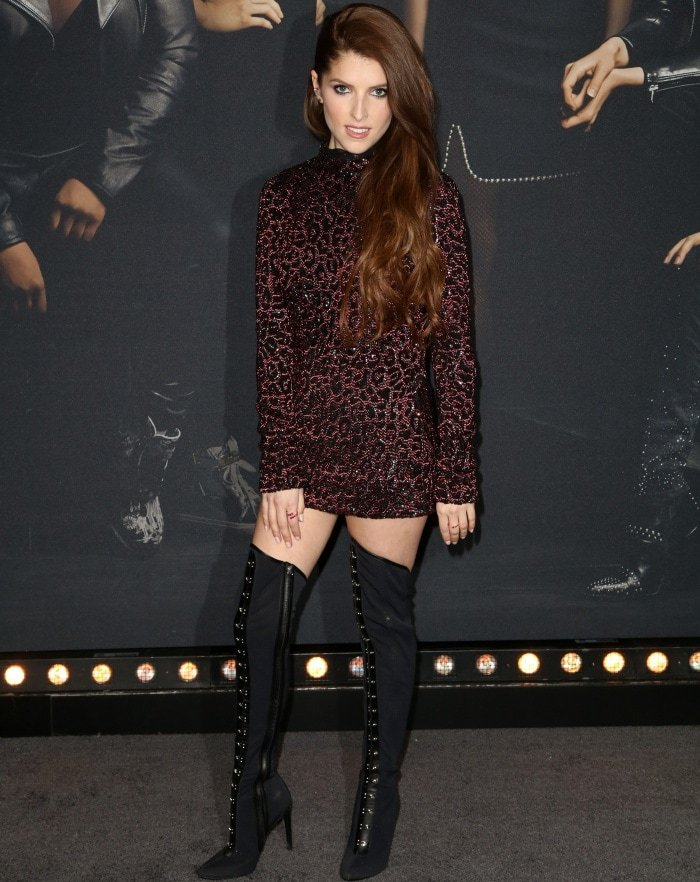 "Anna Kendrick wearing a Gucci Fall 2006 dress and Giuseppe Zanotti ""Janice High"" over-the-knee boots at the ""Pitch Perfect 3"" premiere"