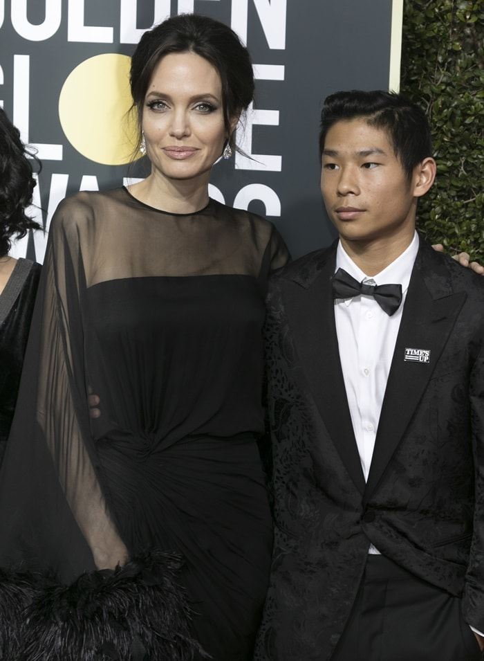Angelina Jolie was joined by her son Pax Jolie-Pitt at the 2018 Golden Globes
