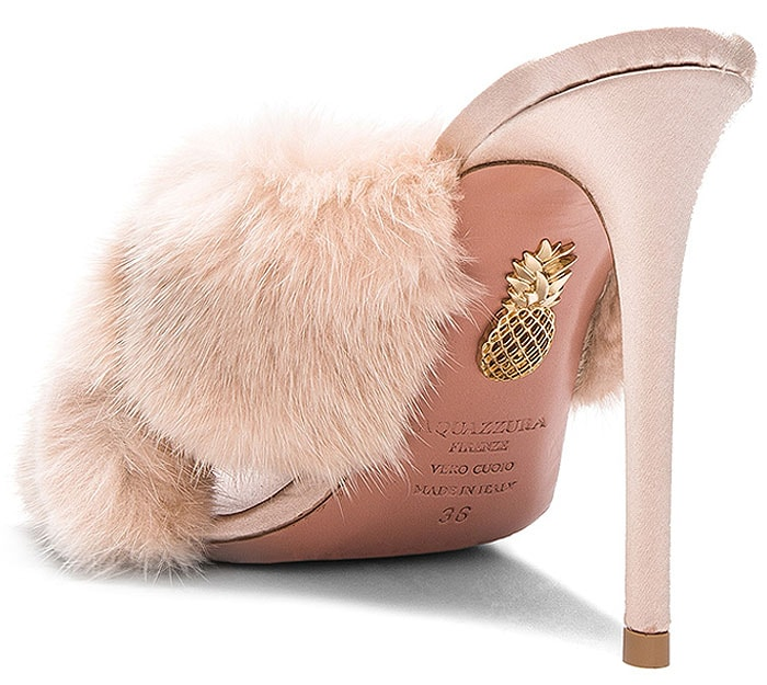 "Aquazzura ""Purr"" mink-fur mule sandals in powder pink"