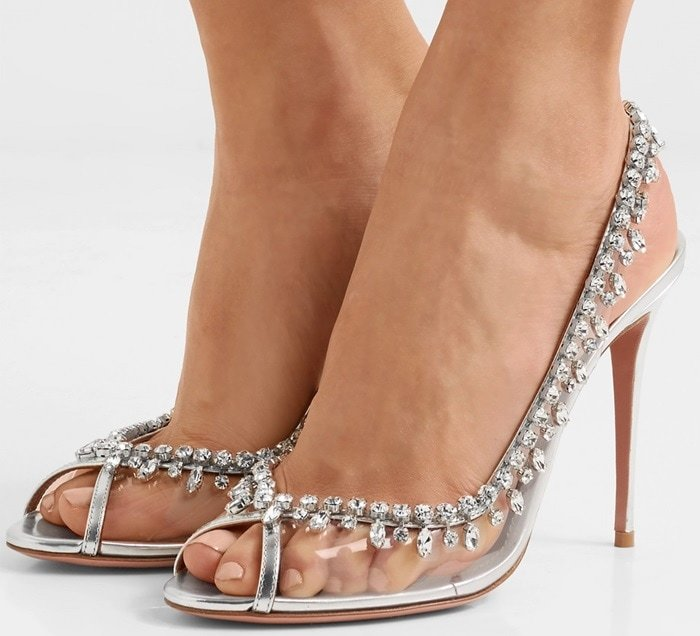 Aquazzura 'Temptation' embellished metallic leather and PVC slingback heels