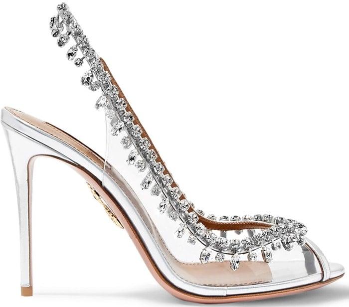Aquazzura 'Temptation' embellished metallic leather and PVC slingback heels
