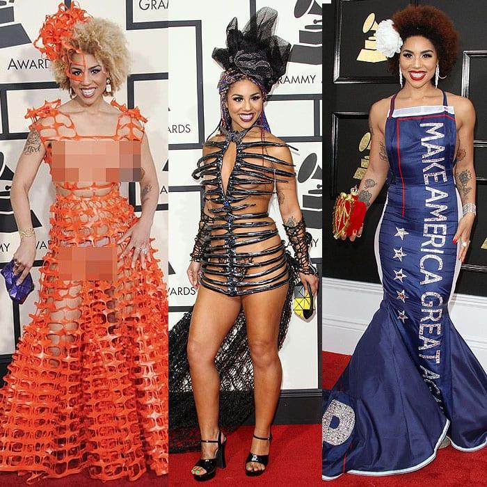 Joy Villa statement Grammys dresses