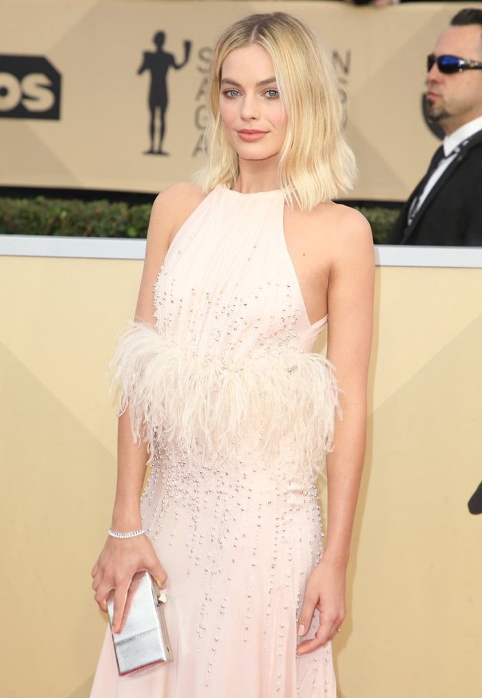 Margot Robbie looks stunning in Miu Miu on the red carpet at the 2018 Screen Actors Guild Awards at the Shrine Auditorium in Los Angeles on January 21, 2018