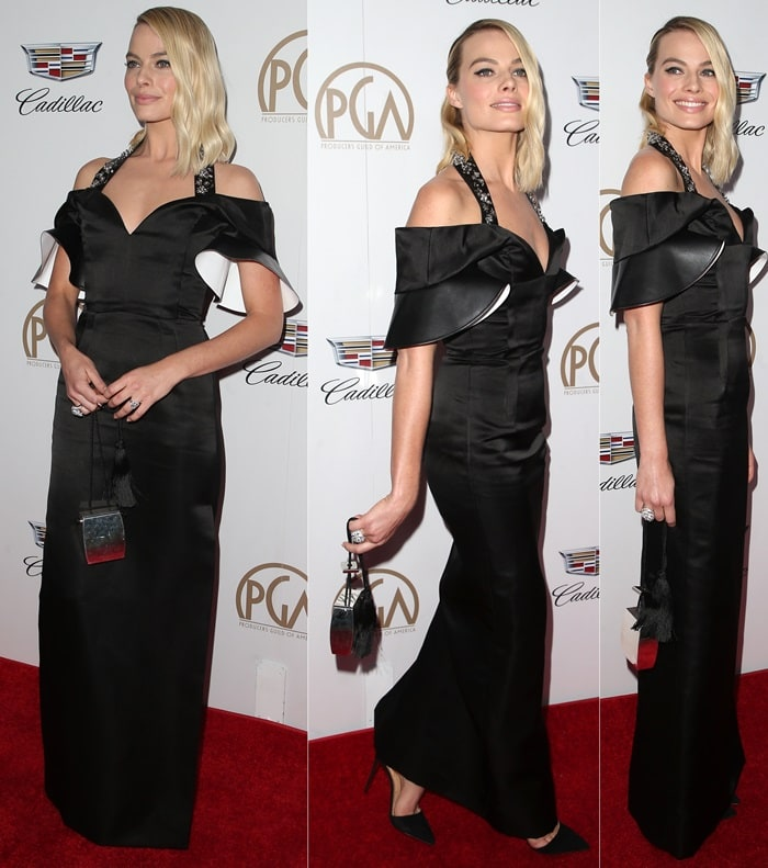 Margot Robbie wearing a Spring 2018 Louis Vuitton gown on the red carpet at the 2018 Producers Guild Awards held at the Beverly Hilton Hotel in Beverly Hills, California, on January 20, 2018