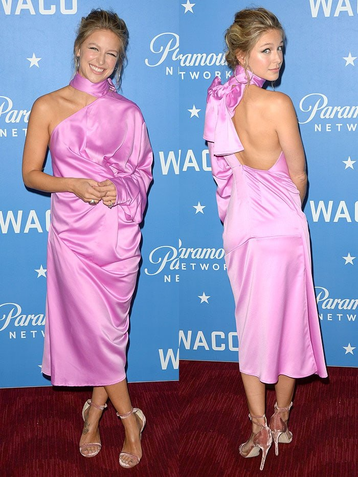 "Melissa Benoist at the world premiere of her newest TV series ""Waco"" in a pink Solace London one-sleeved midi dress"