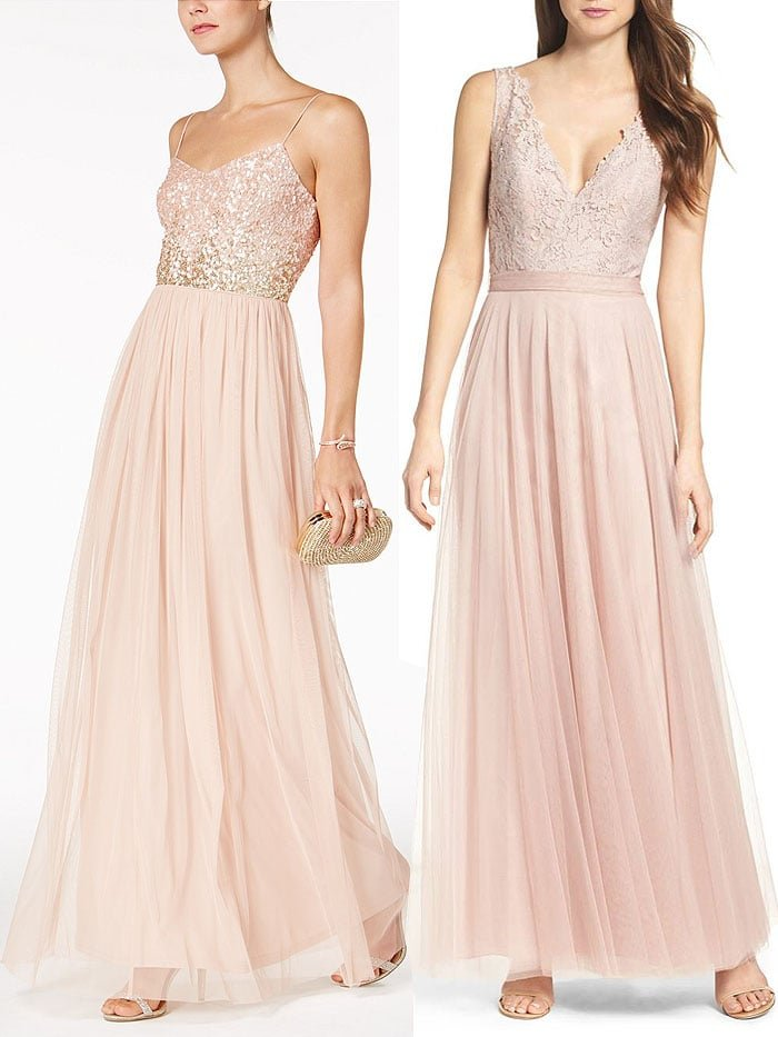"Adrianna Papell sequined-bodice tulle gown / Watters ""Desiree"" tulle dress"