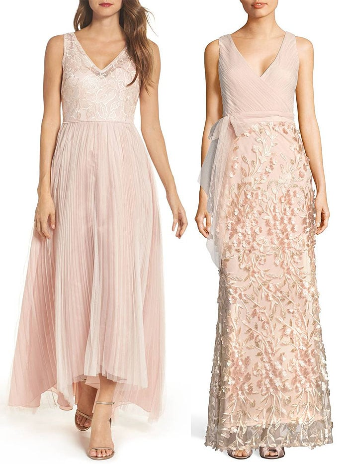 Adrianna Papell sequined pleated-tulle high-low gown in blush / Adrianna Papell petal-embellished tulle gown in blush