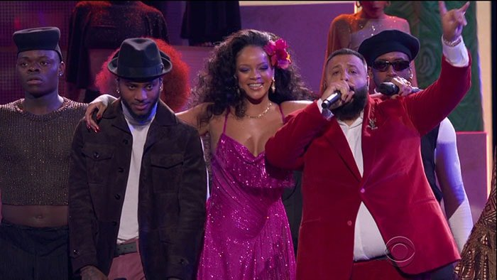"Rihanna, on stage with Bryson Tiller and DJ Khaled, performing her song ""Wild Thoughts"" at the 2018 Grammy Awards held at Madison Square Garden in New York City on January 28, 2017."