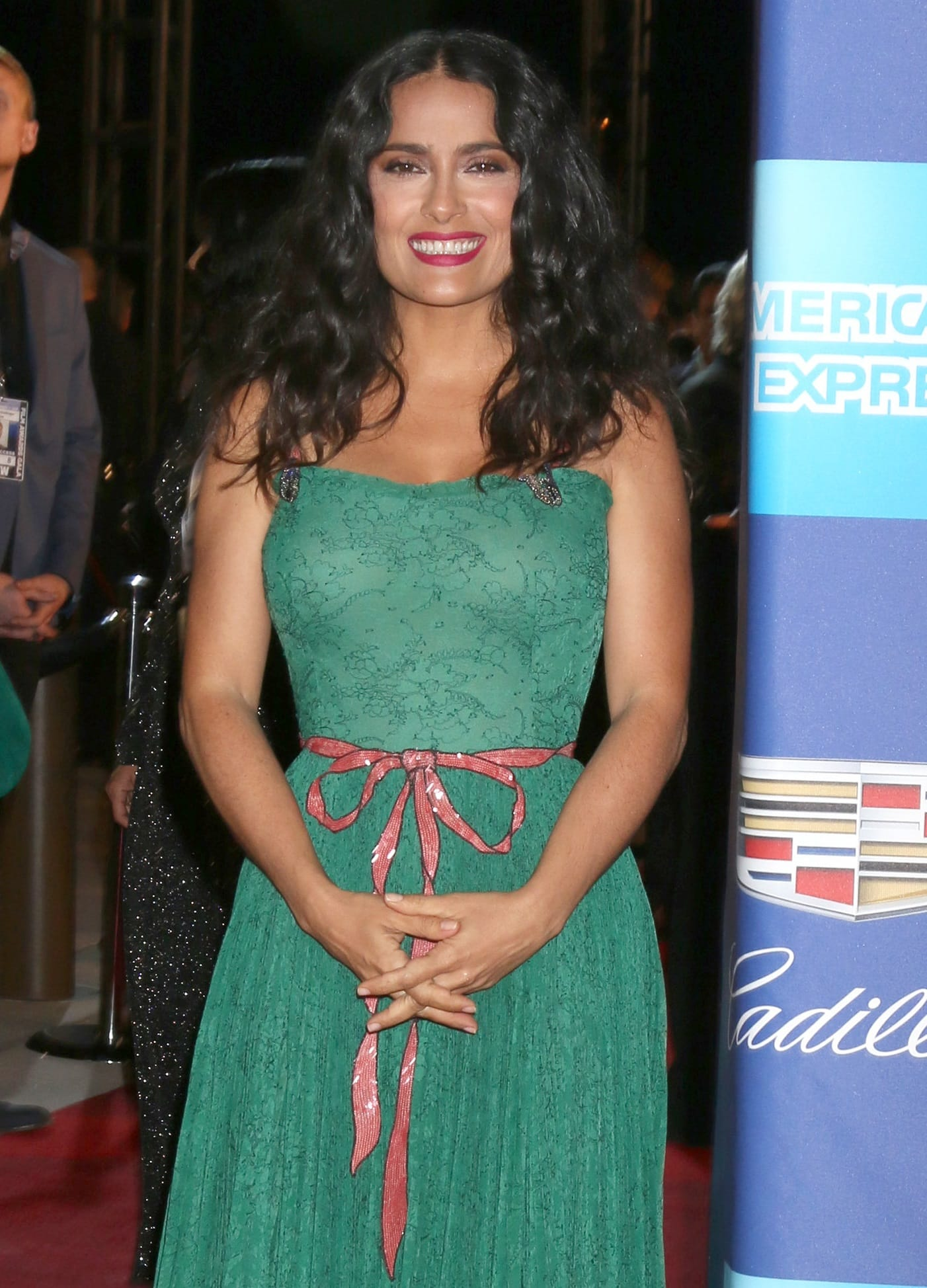Salma Hayek wearing an alluring green Gucci lace gown at the 2018 Palm Springs International Film Festival Awards Gala on Tuesday in Palm Springs, California, on January 2, 2018