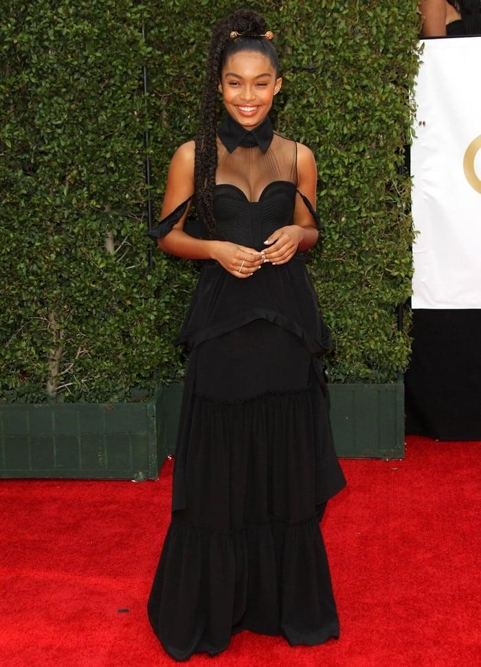 Yara Shahidi's black silk tiered Vera Wang gown at the 2018 NAACP Image Awards