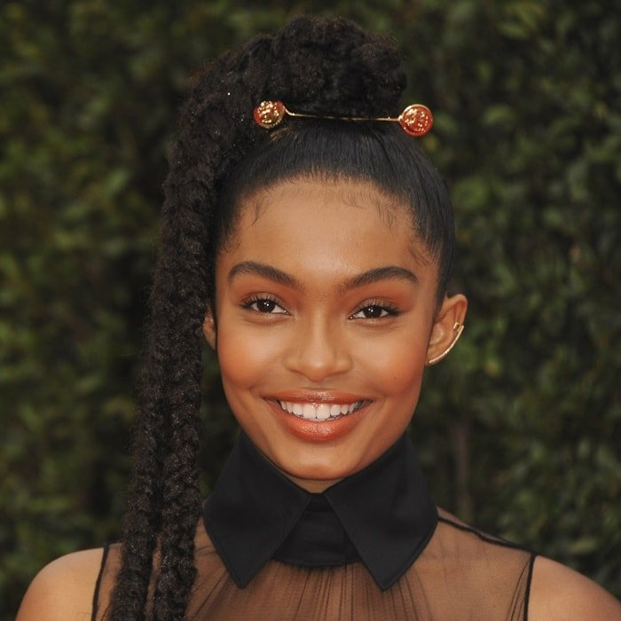 Yara Shahidi in a black silk tiered Vera Wang gown at the 2018 NAACP Image Awards at the Pasadena Civic Auditorium in Pasadena, California, on January 15, 2018