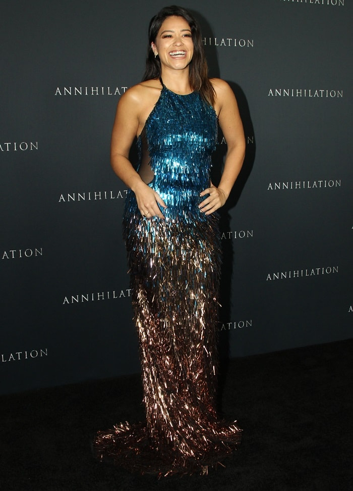 Gina Rodriguez <em>in a slinky turquoise ombré beaded halter gown from Cristina Ottaviano's Fall 2017 collection