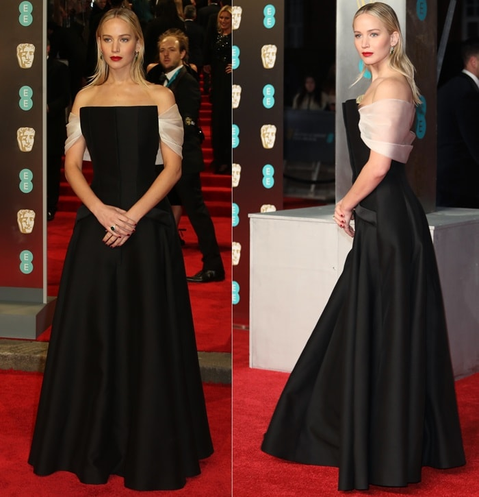 Jennifer Lawrence wearing a Dior Spring 2018 Couture black tuxedo gown at the 2018 EE British Academy Film Awards held at Royal Albert Hall in London, England, on February 18, 2018