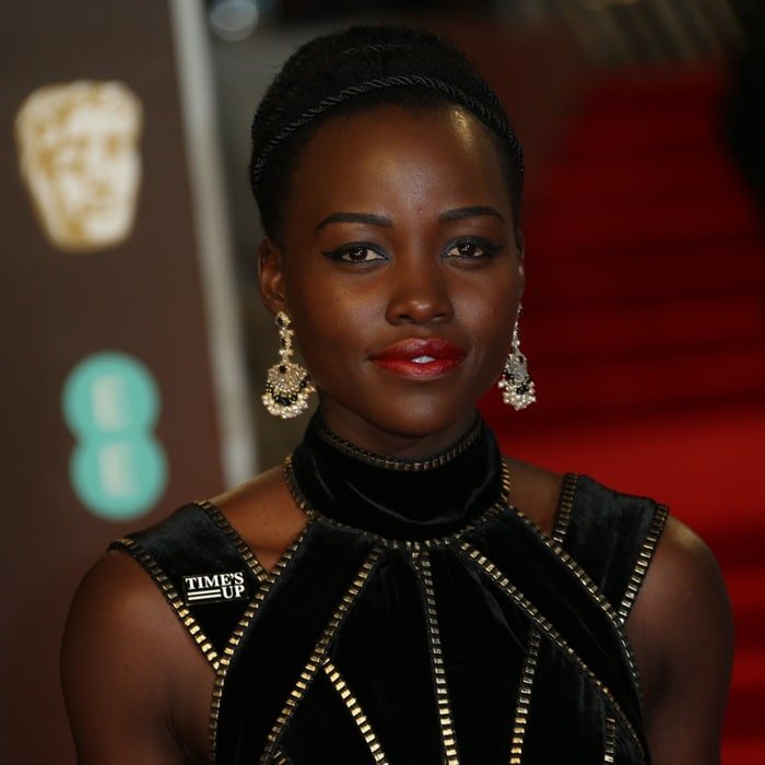 Lupita Nyong'o wearing a black Elie Saab Couture gown at the 2018 EE British Academy Film Awards held at Royal Albert Hall in London, England, on February 18, 2018