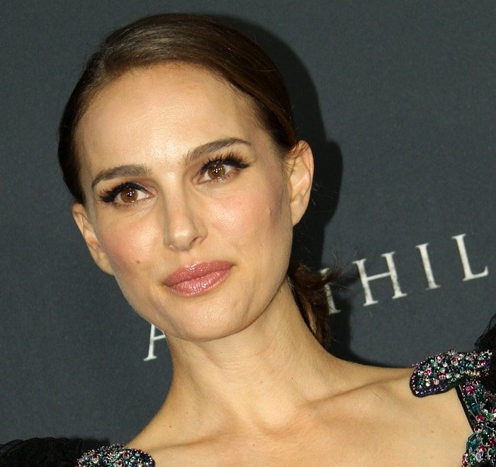 Natalie Portman wearing a black-tulle Valentino Pre-Fall 2018 ball gown