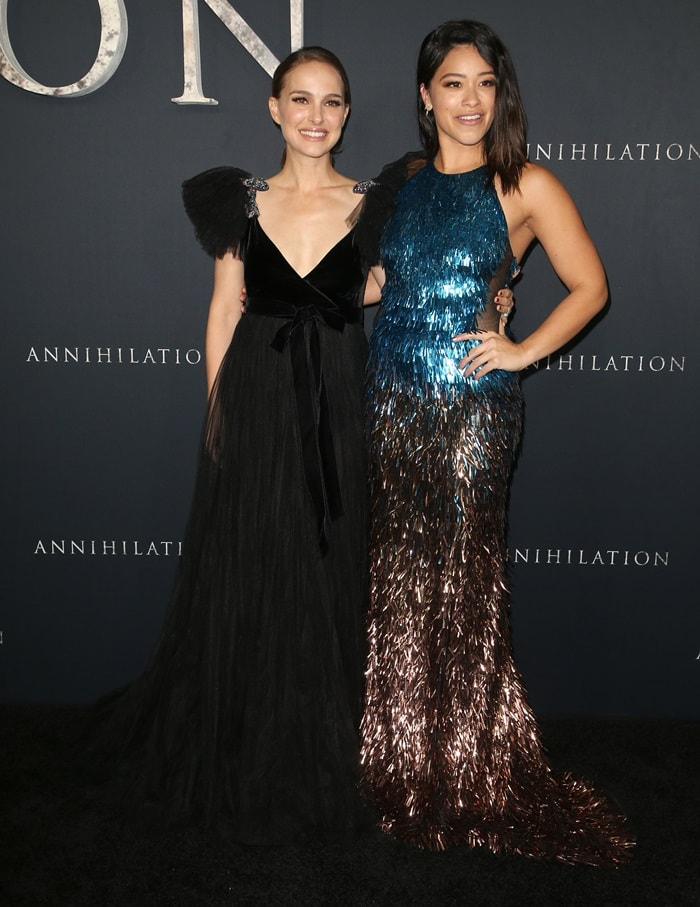 Natalie Portman and her co-star Gina Rodriguez looked stunning at the premiere of their new movie Annihilation at the Regency Village Theatre in Westwood, California, on February 13, 2018