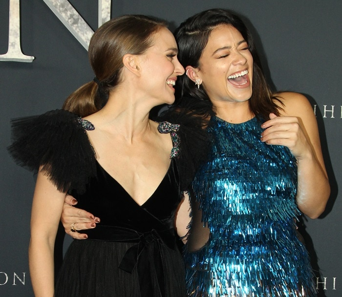 Natalie Portman and her co-star Gina Rodriguez looked stunning at the premiere of their new movie 'Annihilation' at the Regency Village Theatre in Westwood, California, on February 13, 2018