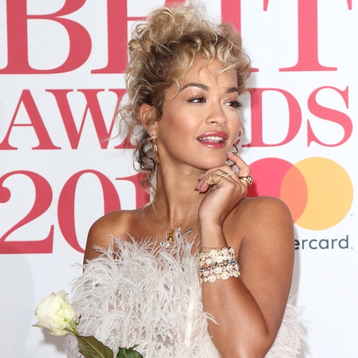 Rita Ora wearing a feathered Ralph & Russo Fall 2017 Couture dress at the 2018 BRIT Awards held at The O2 Arena in London, England, on February 21, 2018