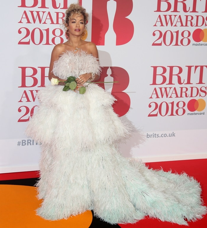 Rita Ora wearing a featheredRalph & Russo Fall 2017 Couture dress at the 2018 BRIT Awards held at The O2 Arena in London, England, on February 21, 2018