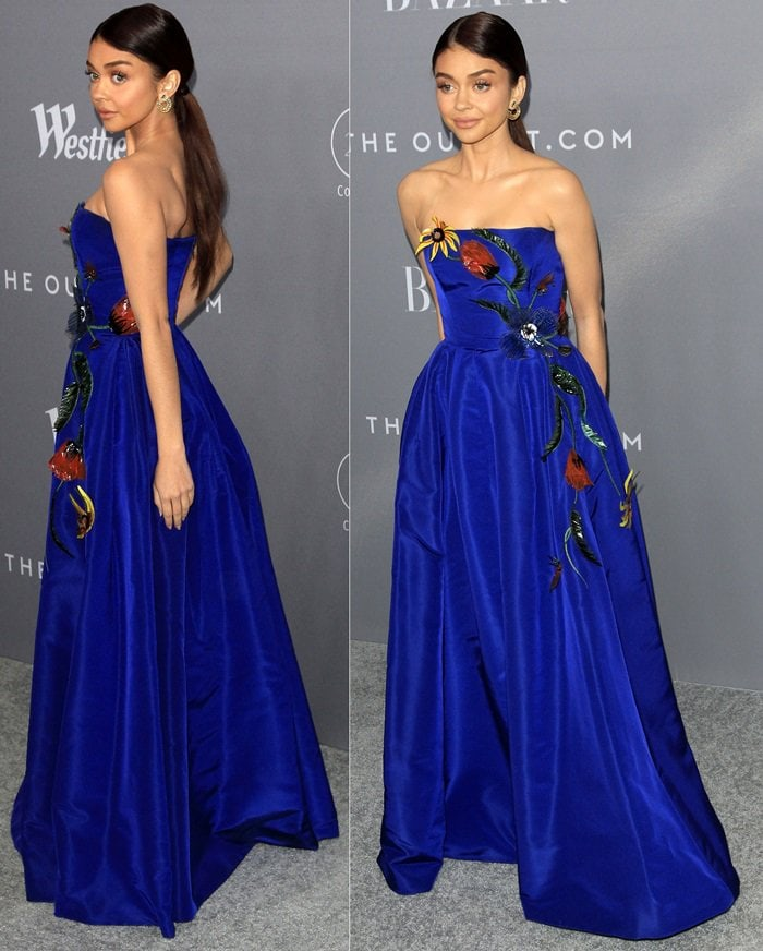 Sarah Hyland wearing a strapless Carolina Herrera Pre-Fall 2018 gown at the 2018 Costume Designers Guild Awards held at the Beverly Hilton Hotel in Beverly Hills, California, on February 20, 2018