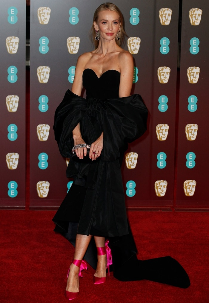 Tatiana Korsakova in a black Balenciaga gown at the 2018 EE British Academy Film Awards held at Royal Albert Hall in London, England, on February 18, 2018