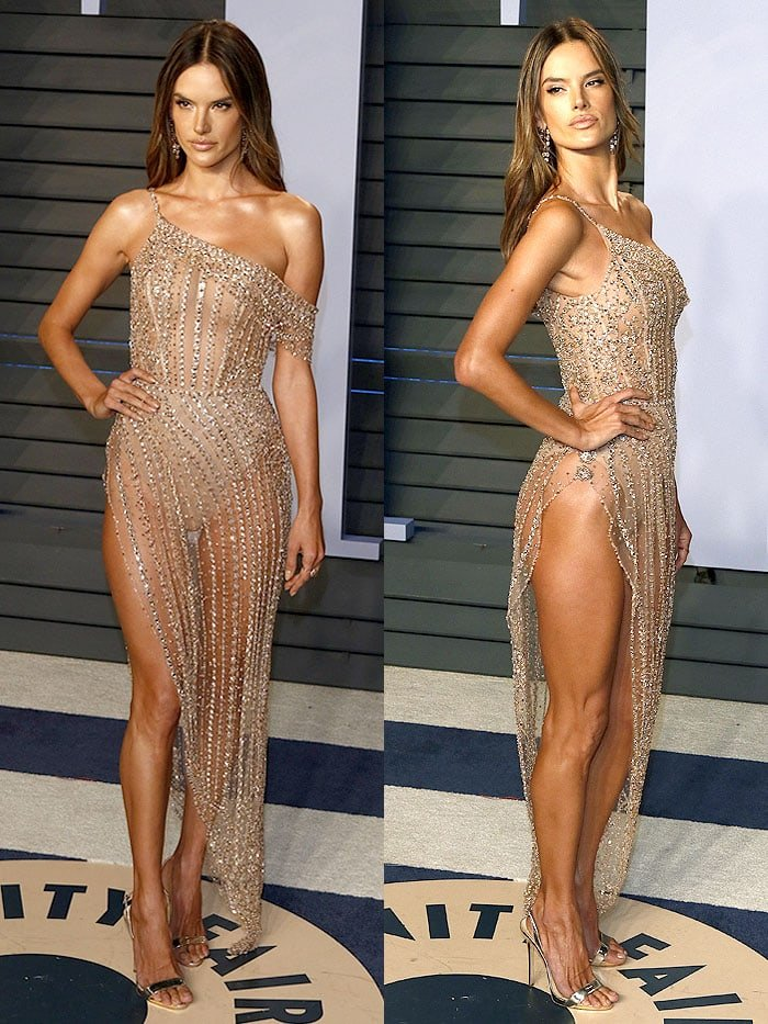 Alessandra Ambrosio in a Ralph & Russo Couture naked dress and Giuseppe Zanotti 'Sophie' sandals.