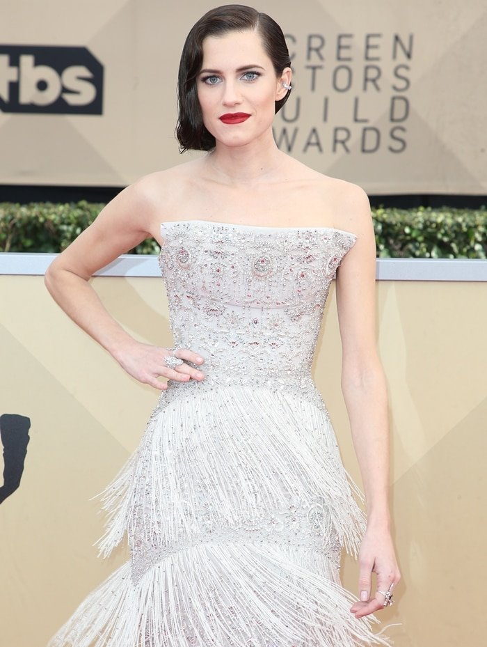 Allison Williams wearing a custom fringe-detailed Ralph & Russo Couture gown