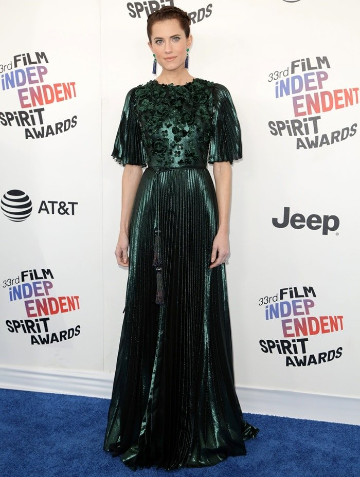 Allison Williams at the 2018 Film Independent Spirit Awards in Santa Monica, California, on March 3, 2018
